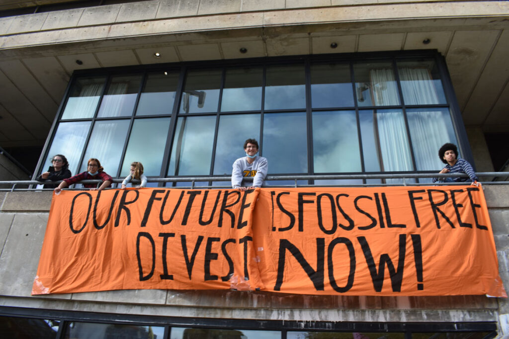 Honk For Our Future, 4 Years to Save the Planet anti-global warming march ends at MIT, Cambridge, in collaboration with Extinction Rebellion Youth, Oct. 9, 2021. (©Greg Cook photo)