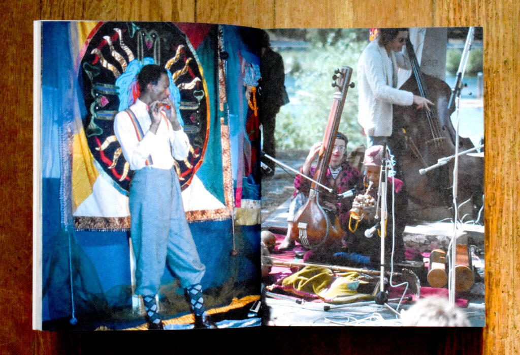 """From the 2021 book """"Organic Music Societies."""" Left: Don Cherry performing in front of Moki Cherry tapestry, c. 1978. Right: Moki Cherry, Don Cherry and bass player, c.1974. (Blank Forms)"""