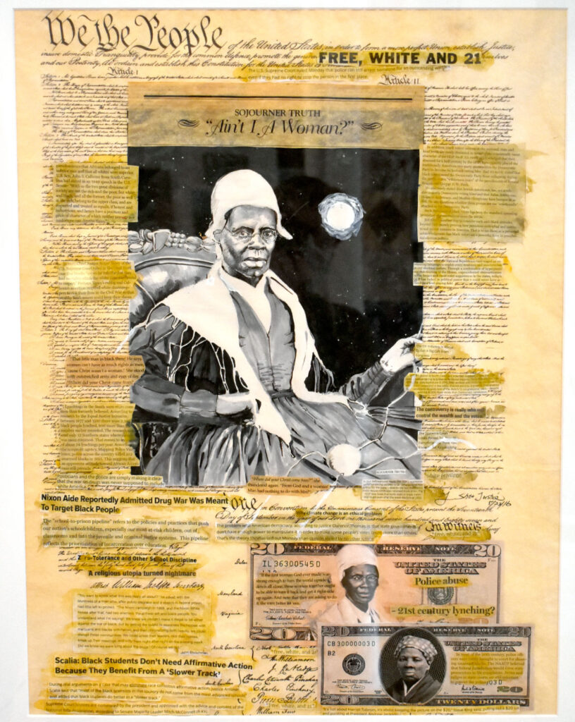 """Shea Justice's """"Constitution and Black Women,"""" 2017, in """"Layered Time: Shea Justice—Scrolls of Justice"""" at Spoke Gallery, Boston, Sept. 30, 2021."""