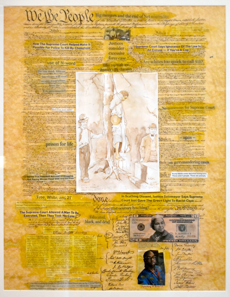 """Shea Justice's """"Lynching: A Proud American Tradition,"""" 2014, in """"Layered Time: Shea Justice—Scrolls of Justice"""" at Spoke Gallery, Boston, Sept. 30, 2021."""