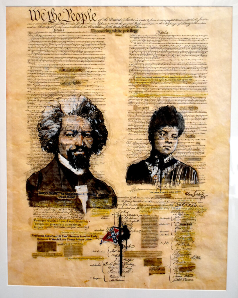 """Shea Justice's """"The U.S. Justice System and the Constitution,"""" 2016, in """"Layered Time: Shea Justice—Scrolls of Justice"""" at Spoke Gallery, Boston, Sept. 30, 2021."""
