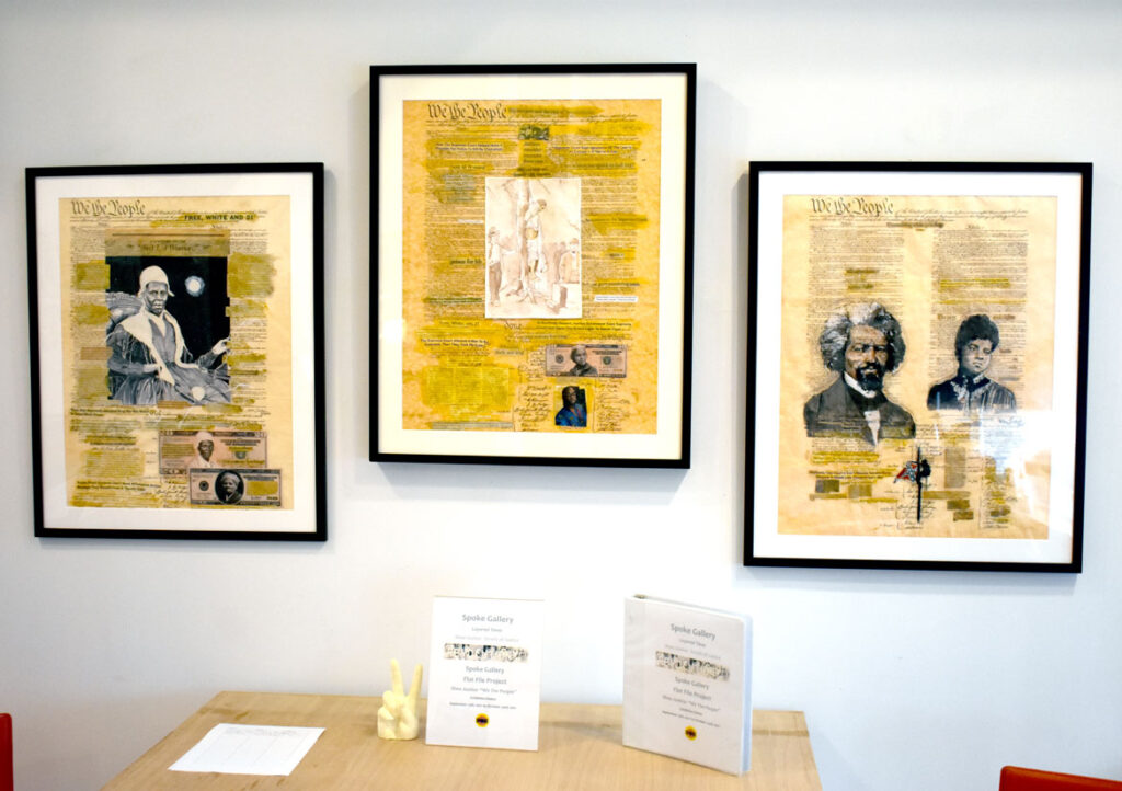 """Shea Justice's (left to right) """"Constitution and Black Women,"""" 2017; """"Lynching: A Proud American Tradition,"""" 2014; and """"The U.S. Justice System and the Constitution,"""" 2016, in """"Layered Time: Shea Justice—Scrolls of Justice"""" at Spoke Gallery, Boston, Sept. 30, 2021."""