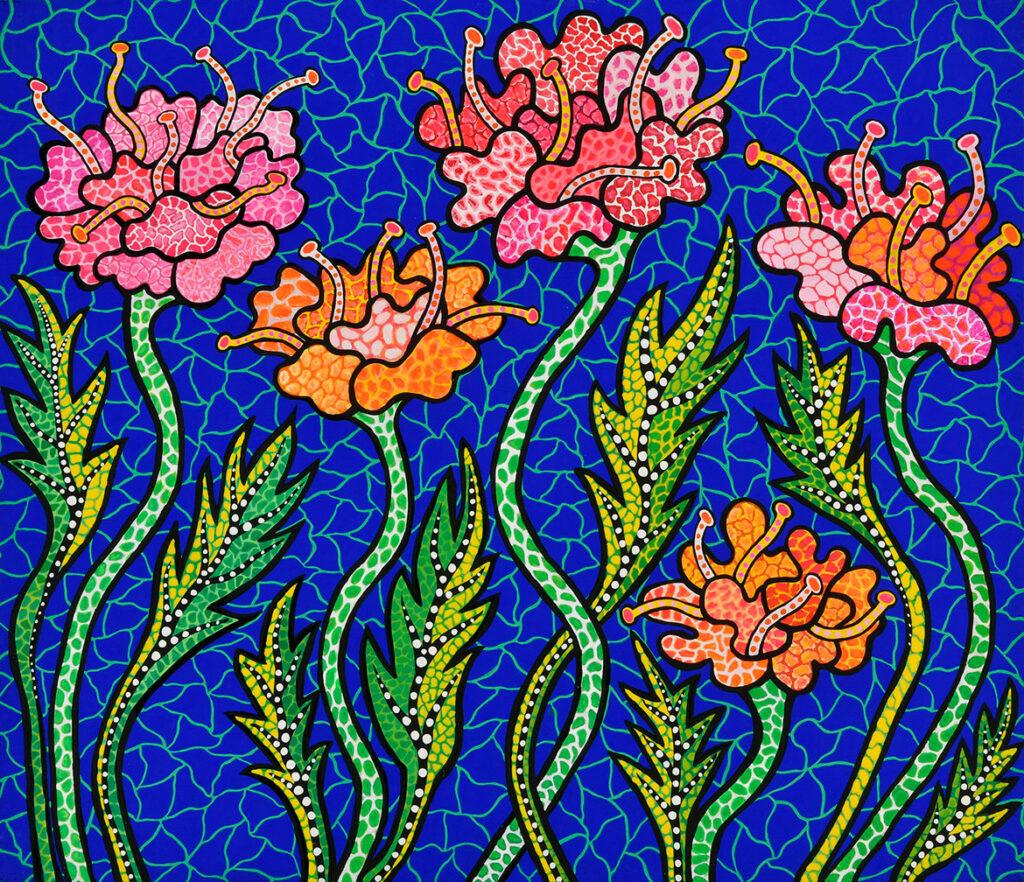 "Yayoi Kusama, ""Summer Flowers,"" 1988. Acrylic on canvas. (Collection of the artist)"