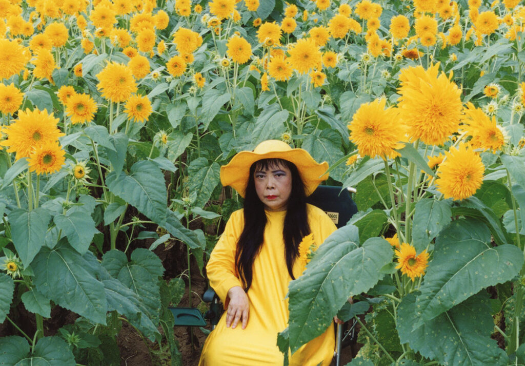 """Yayoi Kusama, """"Flower Obsession (Sunflowers),"""" 2000. Video Still. (Collection of the artist)"""